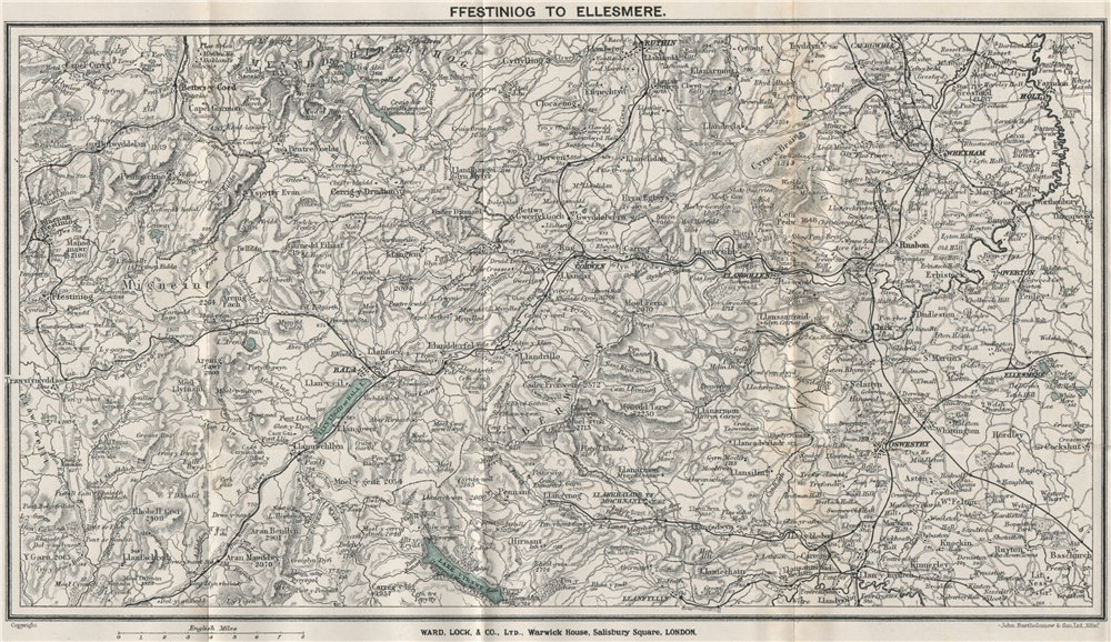 Associate Product NORTH CENTRAL WALES. Ellesmere Bala Llangollen Wrexham Oswestry 1923 old map