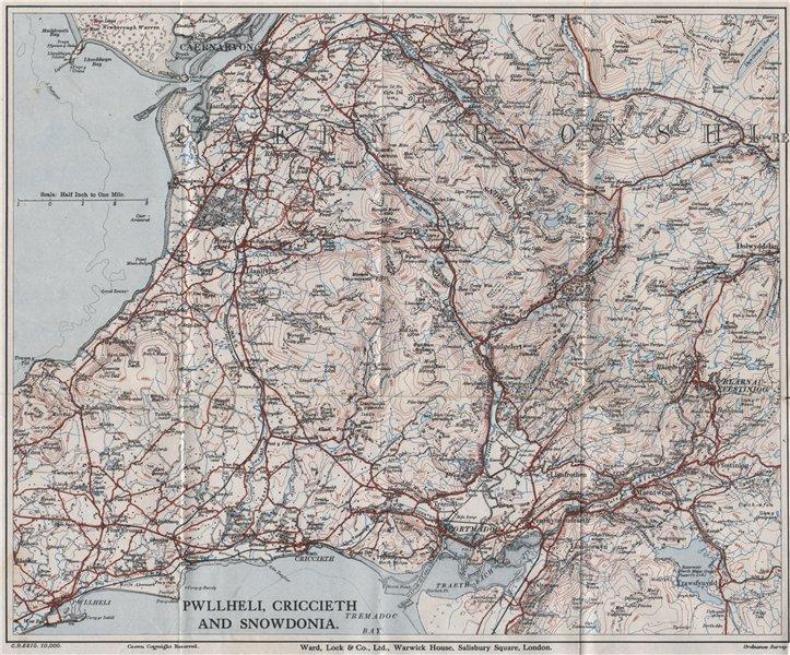 Associate Product SNOWDONIA NORTH. Pwllheli Criccieth Carnarvon Llanberis. WARD LOCK 1935 map