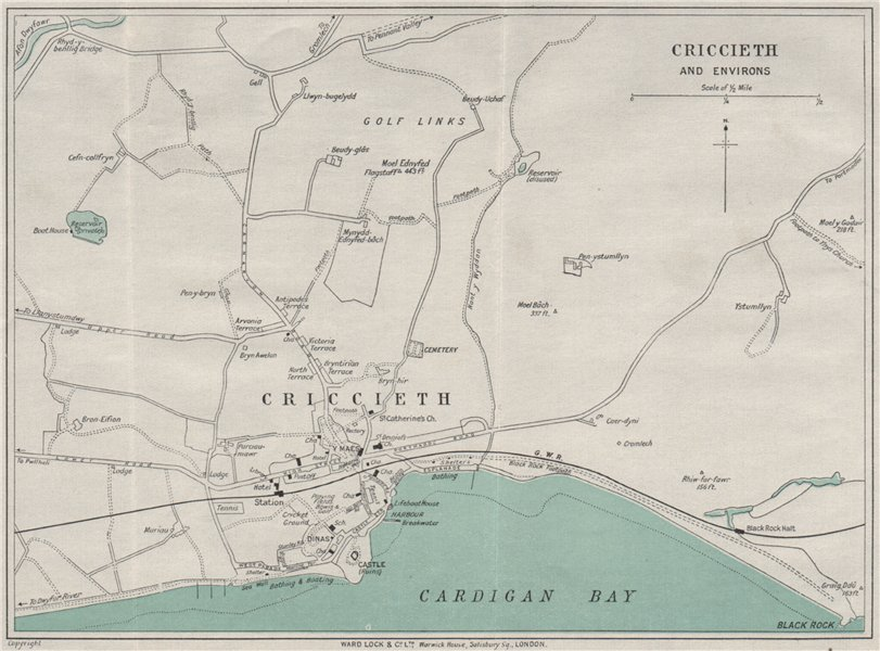 Associate Product CRICCIETH AND ENVIRONS vintage town/city plan. Wales. WARD LOCK 1935 old map