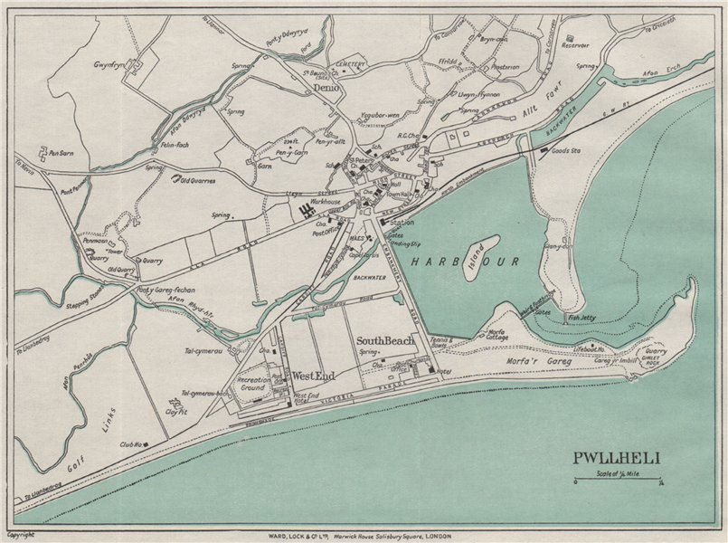 Associate Product PWLLHELI vintage town/city plan. Wales. WARD LOCK 1935 old vintage map chart