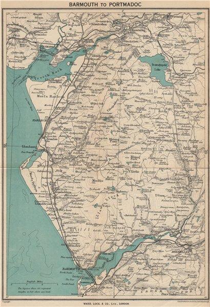 SNOWDONIA COAST. Barmouth-Porthmadog. Ffestiniog Dolgellau. WARD LOCK 1948 map