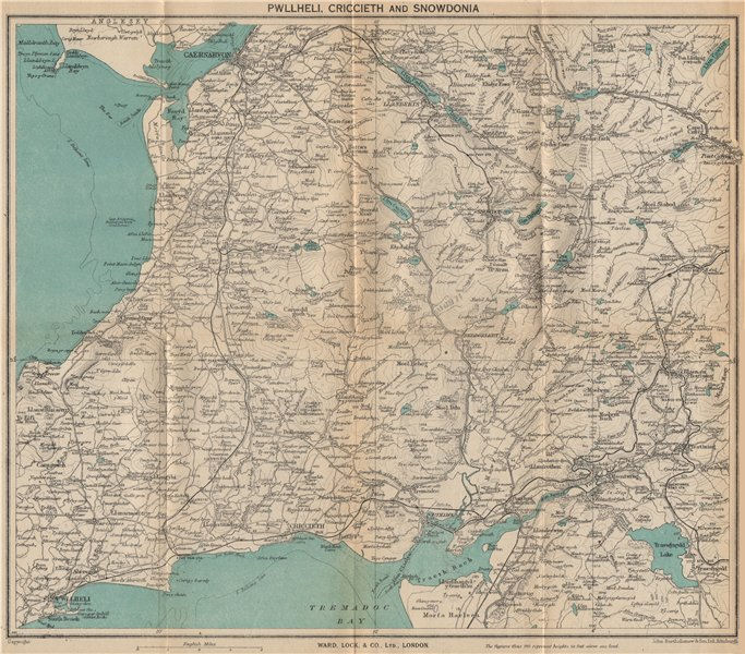Associate Product SNOWDONIA NORTH. Pwllheli Criccieth Carnarvon Llanberis. WARD LOCK 1948 map