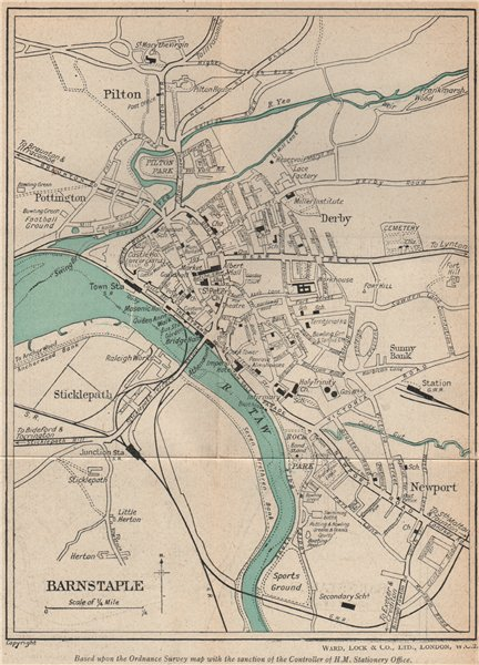 Associate Product BARNSTAPLE vintage town/city plan. Devon. WARD LOCK 1946 old vintage map chart