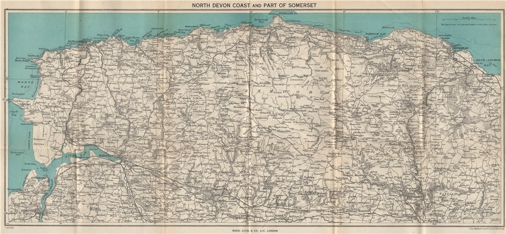 Associate Product EXMOOR & NORTH/SOMERSET COAST. Bideford Barnstaple Ilfracombe Minehead 1946 map