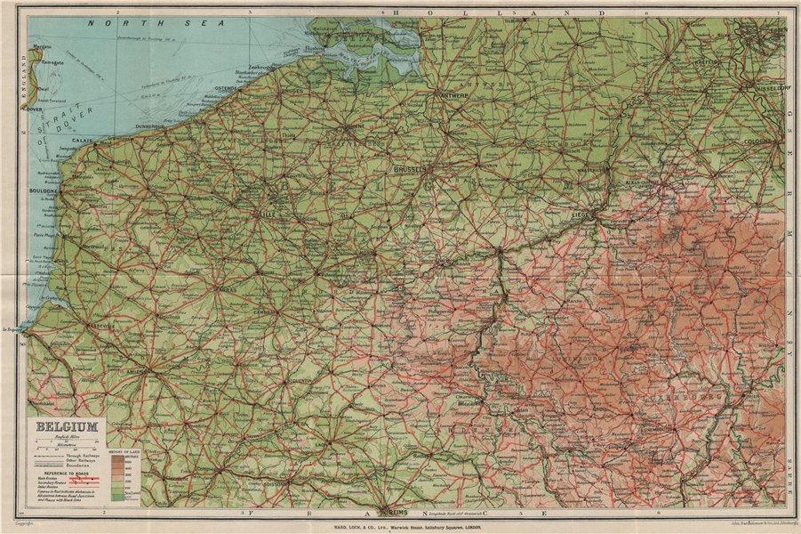 Associate Product Vintage map of BELGIUM. Relief roads railways. WARD LOCK 1926 old vintage