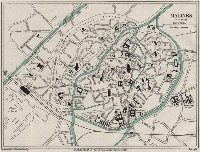 MALINES MECHELEN vintage town/city plan. Belgium. WARD LOCK 1926 old map