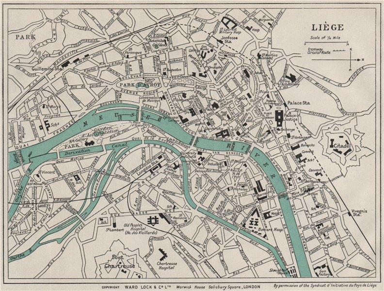 Associate Product LIÈGE vintage town/city plan. Belgium. WARD LOCK 1926 old vintage map chart