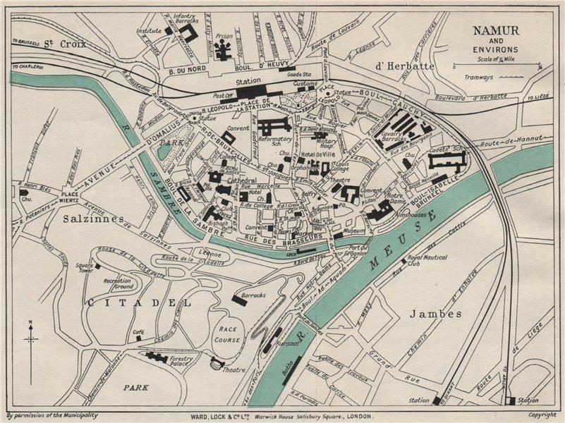 Associate Product NAMUR NAMEN NAMEUR vintage town/city plan. Belgium. WARD LOCK 1926 old map