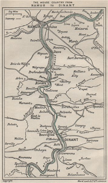 Associate Product MEUSE River valley from NAMUR to DINANT. Belgium. WARD LOCK 1926 old map