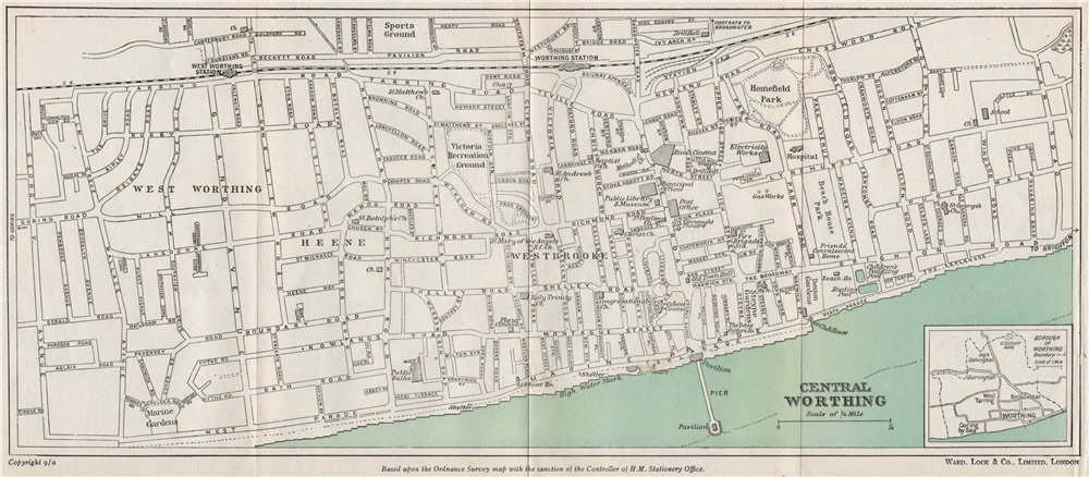 CENTRAL WORTHING vintage town/city plan. Sussex. WARD LOCK 1950 old map