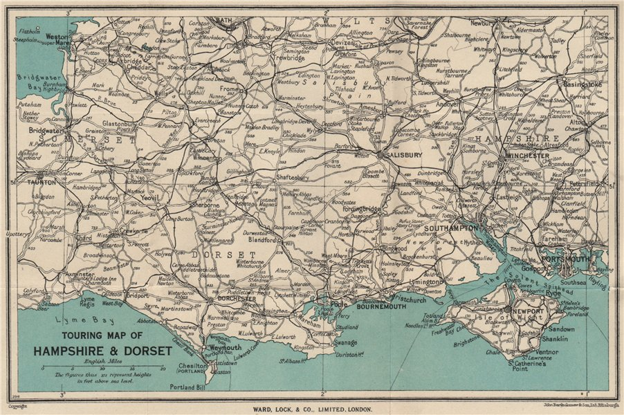 Associate Product TOURING MAP OF HAMPSHIRE & DORSET. Wiltshire Somerset. WARD LOCK 1946 old
