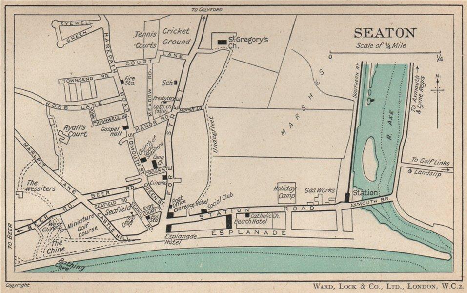 SEATON vintage town/city plan. Devon. WARD LOCK 1952 old vintage map chart