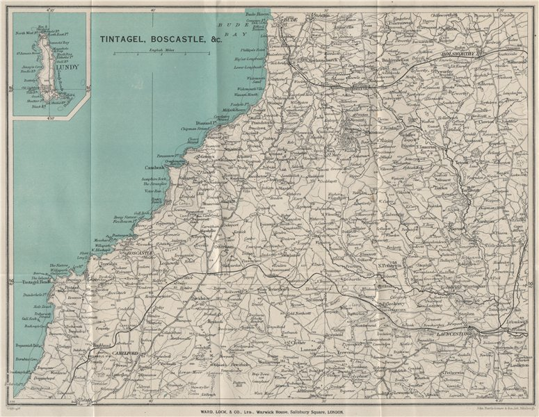 Associate Product WIDEMOUTH BAY-PENTIRE POINT COAST. Tintagel Boscastle Lundy Launceston 1934 map