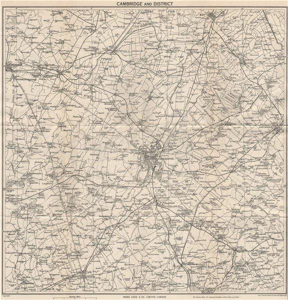Associate Product CAMBRIDGE environs. Ely Huntingdon Royston Saffron Walden Newmarket 1949 map