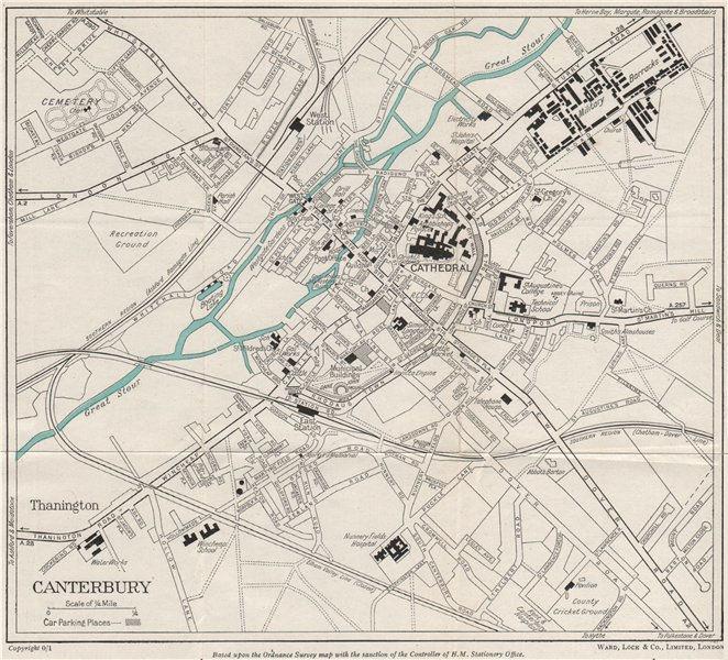 Associate Product CANTERBURY vintage town/city plan. Kent. WARD LOCK 1954 old vintage map chart