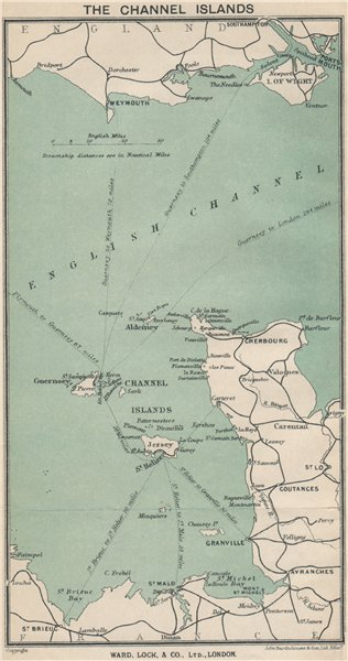 Associate Product Ferry routes to the CHANNEL ISLANDS. Jersey Guernsey. WARD LOCK 1921 old map