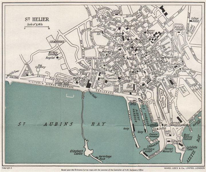Associate Product ST. HELIER vintage town/city plan. Jersey Channel Islands. WARD LOCK 1954 map