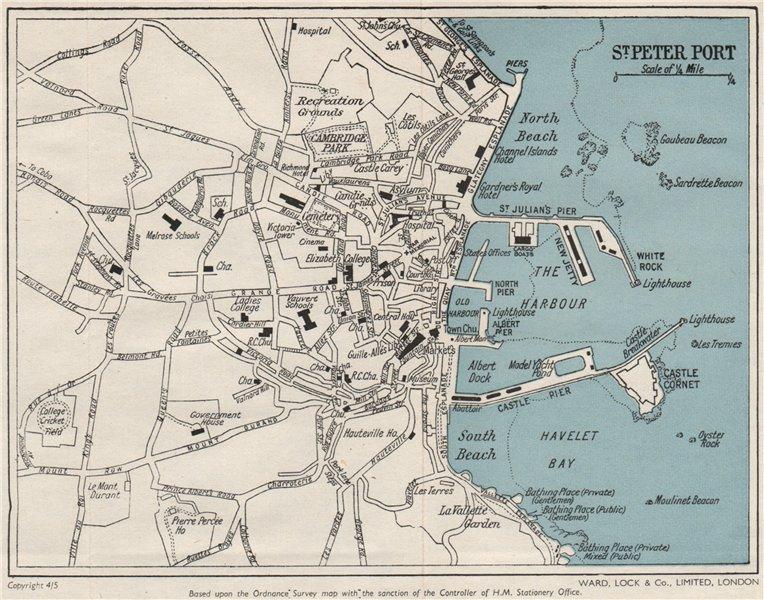 Associate Product ST PETER PORT vintage town plan. Guernsey Channel Islands. WARD LOCK 1954 map