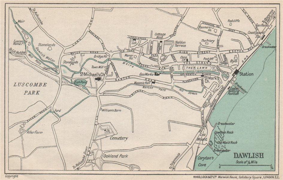 Associate Product DAWLISH vintage town/city plan. Devon. WARD LOCK 1924 old vintage map chart
