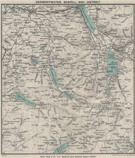Associate Product DERWENTWATER, SCAFELL AND DISTRICT. Cockermouth Keswick. Lake District 1928 map