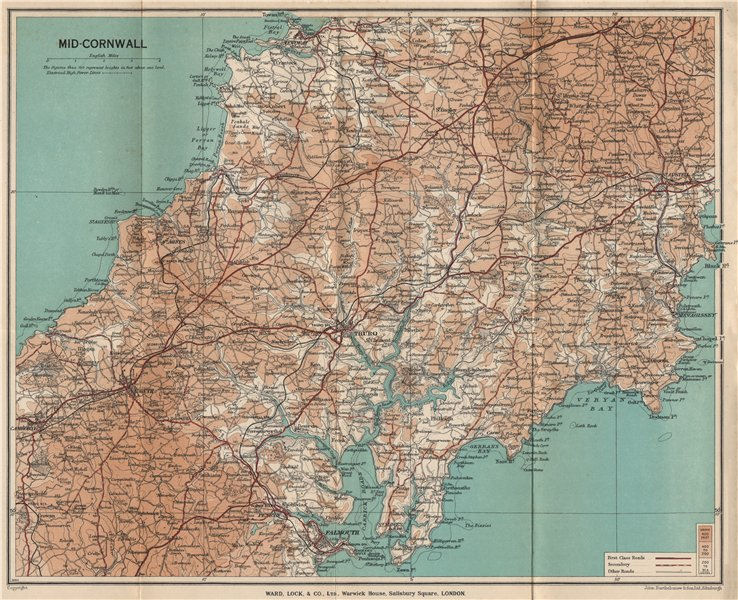 Associate Product MID-CORNWALL. Carrick Roads Truro Newquay Redruth Falmouth St Austell 1937 map