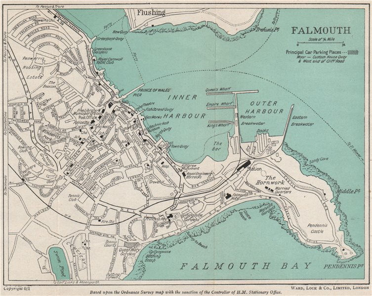 Associate Product FALMOUTH vintage town/city plan. Cornwall. WARD LOCK 1948 old vintage map