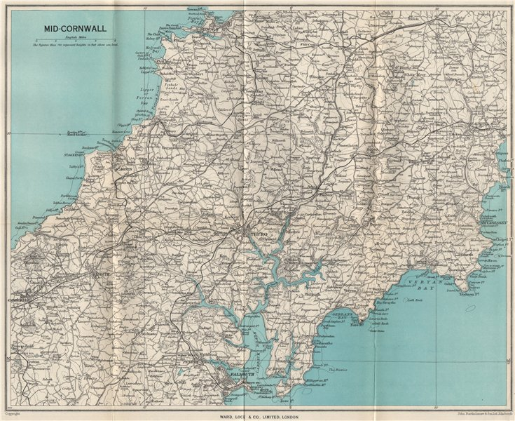 Associate Product MID-CORNWALL. Carrick Roads Truro Newquay Redruth Falmouth St Austell 1948 map