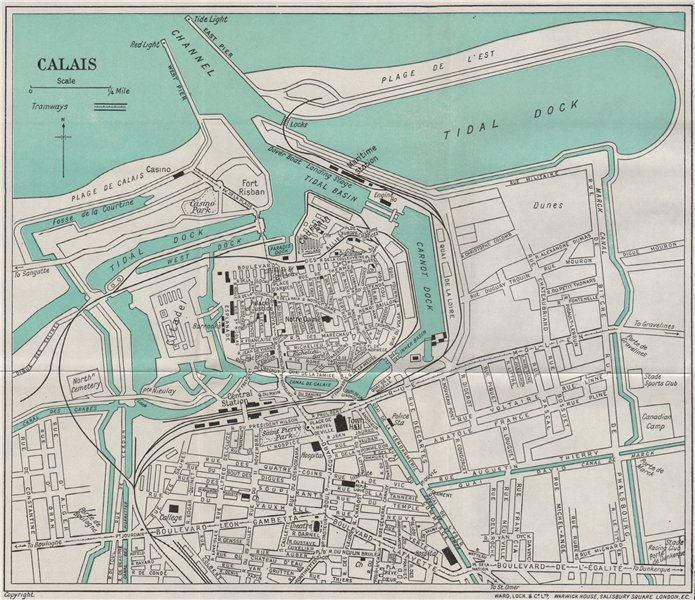 Associate Product CALAIS vintage town/city plan. Pas-de-Calais. WARD LOCK 1938 old vintage map