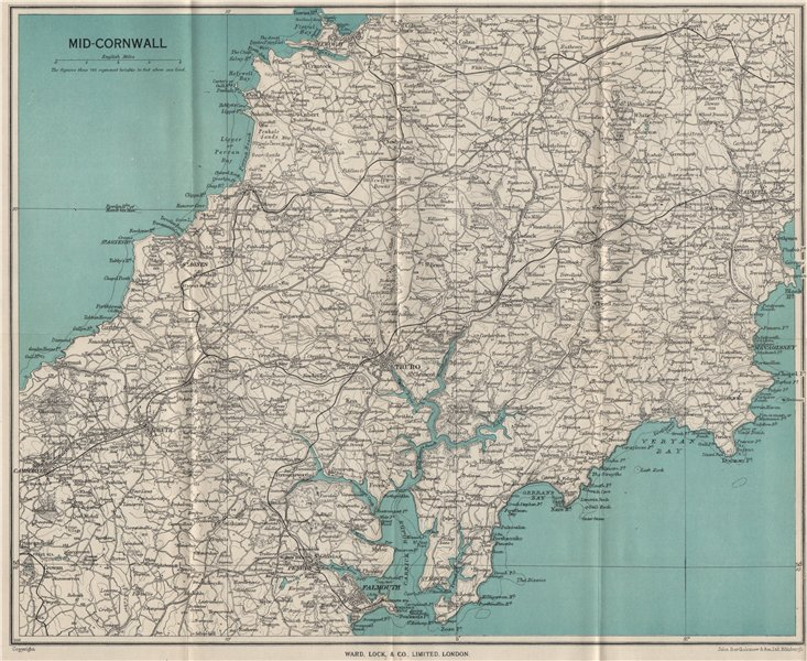 Associate Product MID CORNWALL. Carrick Roads Truro Newquay Redruth Falmouth St Austell 1948 map