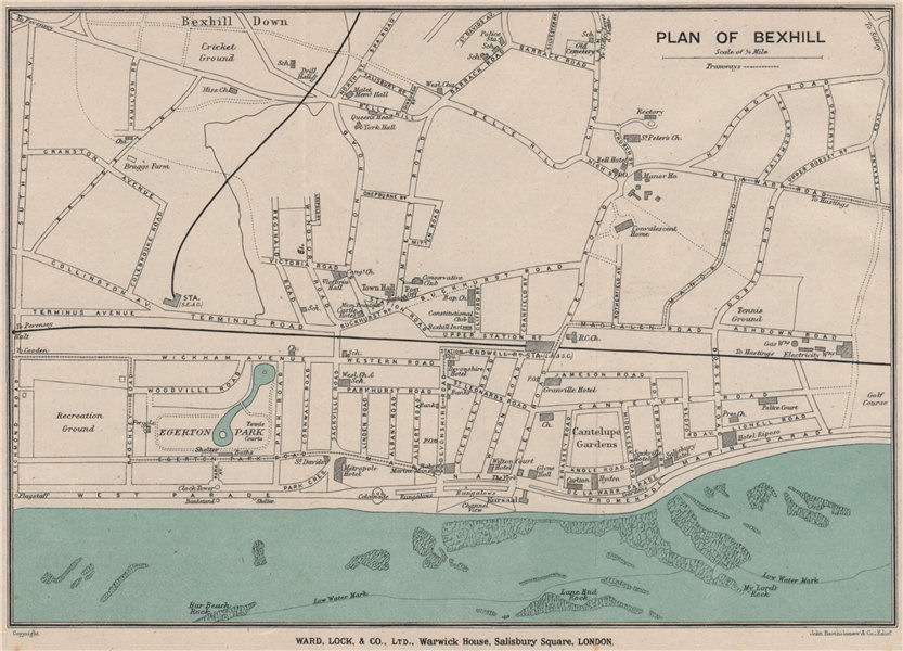 Associate Product BEXHILL vintage town/city plan. Sussex. WARD LOCK 1919 old antique map chart
