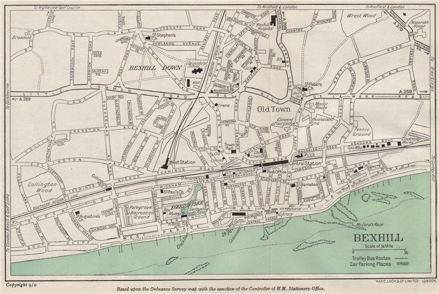 Associate Product BEXHILL vintage town/city plan. Sussex. WARD LOCK 1950 old vintage map chart