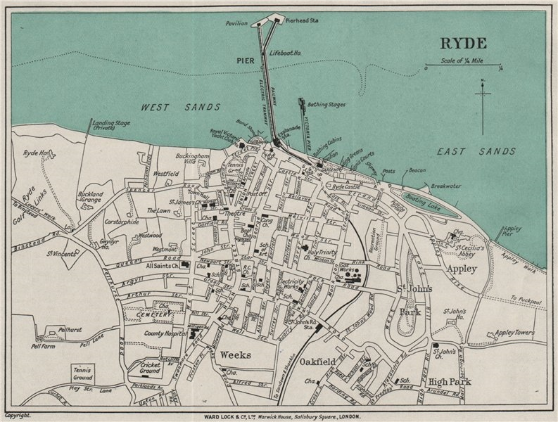 Associate Product RYDE vintage town/city plan. Isle of Wight. WARD LOCK 1929 old vintage map