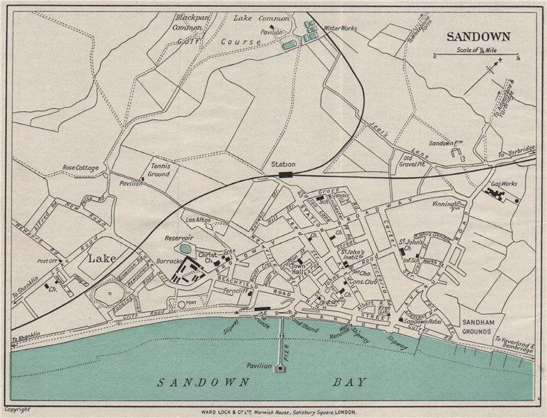 Associate Product SANDOWN vintage town/city plan. Isle of Wight. WARD LOCK 1929 old vintage map