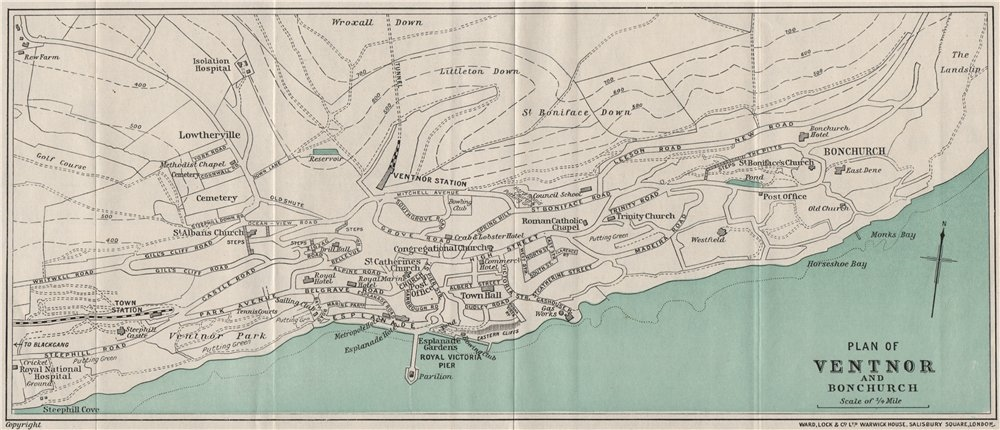 Associate Product VENTNOR AND BONCHURCH vintage town/city plan. Isle of Wight. WARD LOCK 1929 map