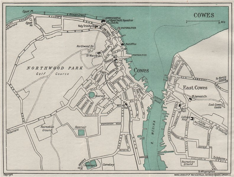 Associate Product COWES vintage town/city plan. Isle of Wight. WARD LOCK 1929 old vintage map