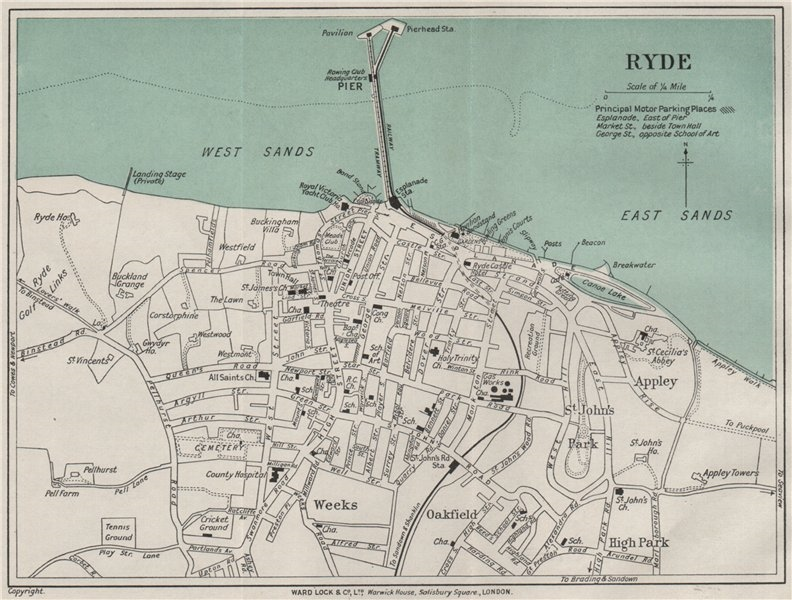Associate Product RYDE vintage town/city plan. Isle of Wight. WARD LOCK 1932 old vintage map