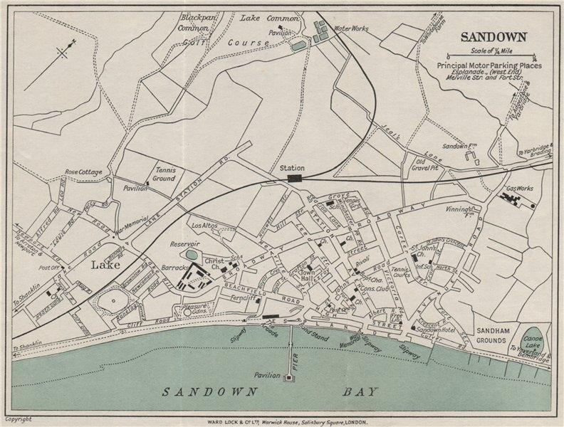 Associate Product SANDOWN vintage town/city plan. Isle of Wight. WARD LOCK 1932 old vintage map