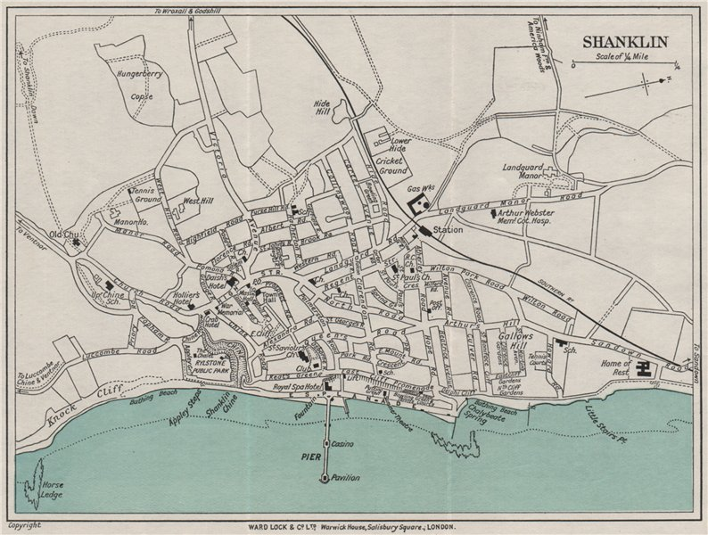 Associate Product SHANKLIN vintage town/city plan. Isle of Wight. WARD LOCK 1932 old vintage map