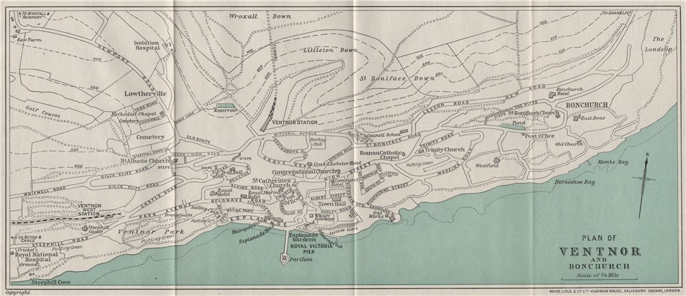 Associate Product VENTNOR AND BONCHURCH vintage town/city plan. Isle of Wight. WARD LOCK 1932 map