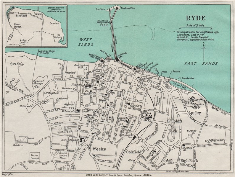 Associate Product RYDE vintage town/city plan. Isle of Wight. WARD LOCK 1939 old vintage map
