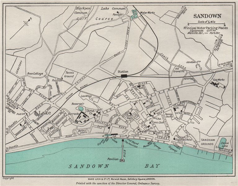 Associate Product SANDOWN vintage town/city plan. Isle of Wight. WARD LOCK 1939 old vintage map