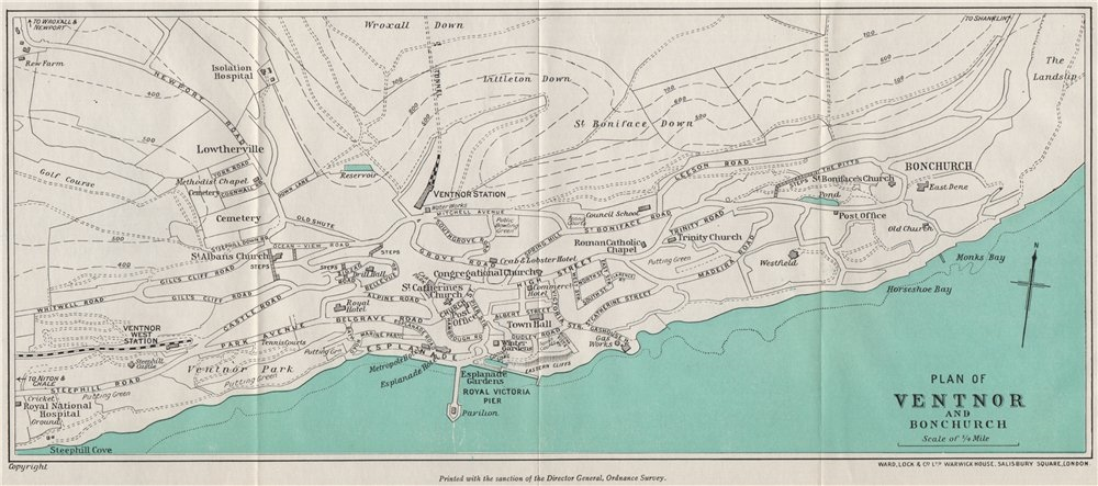 Associate Product VENTNOR AND BONCHURCH vintage town/city plan. Isle of Wight. WARD LOCK 1939 map