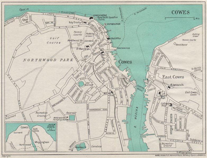 COWES vintage town/city plan. Isle of Wight. WARD LOCK 1939 old vintage map