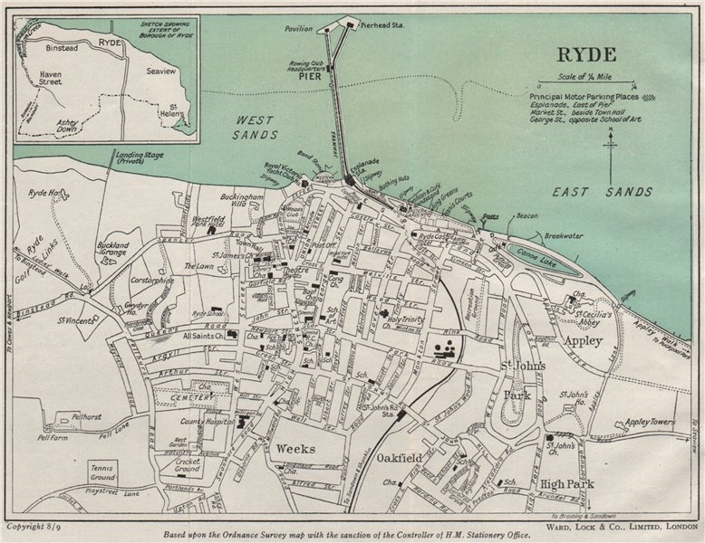 Associate Product RYDE vintage town/city plan. Isle of Wight. WARD LOCK 1948 old vintage map