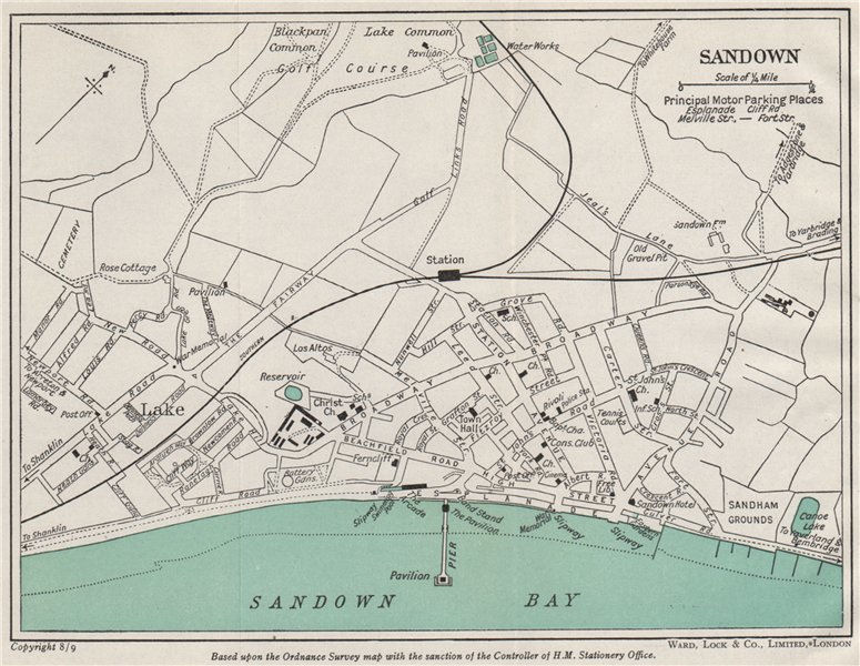 Associate Product SANDOWN vintage town/city plan. Isle of Wight. WARD LOCK 1948 old vintage map