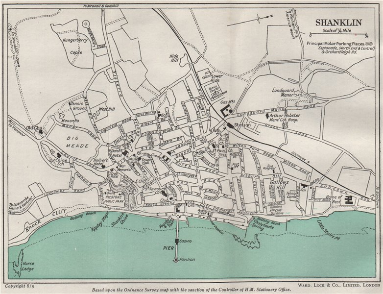 Associate Product SHANKLIN vintage town/city plan. Isle of Wight. WARD LOCK 1948 old vintage map