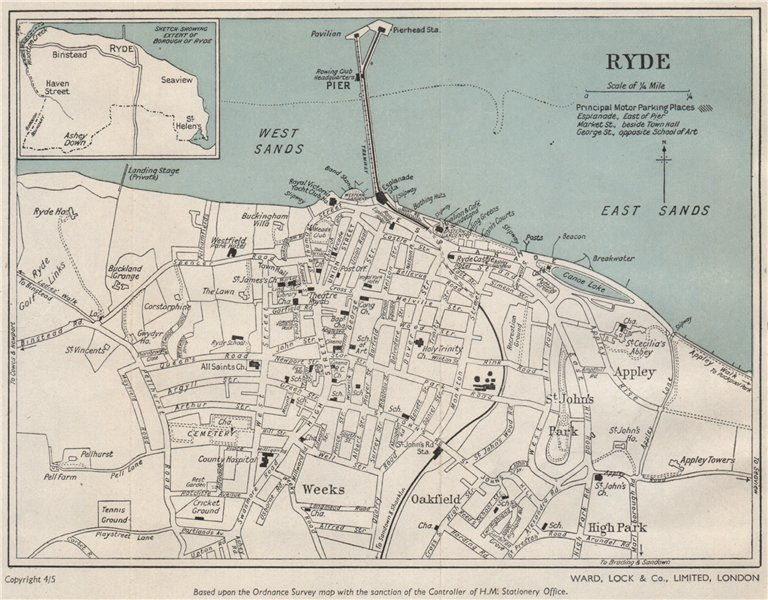 Associate Product RYDE vintage town/city plan. Isle of Wight. WARD LOCK 1950 old vintage map