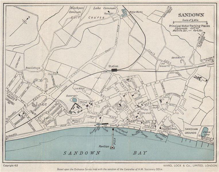 Associate Product SANDOWN vintage town/city plan. Isle of Wight. WARD LOCK 1950 old vintage map