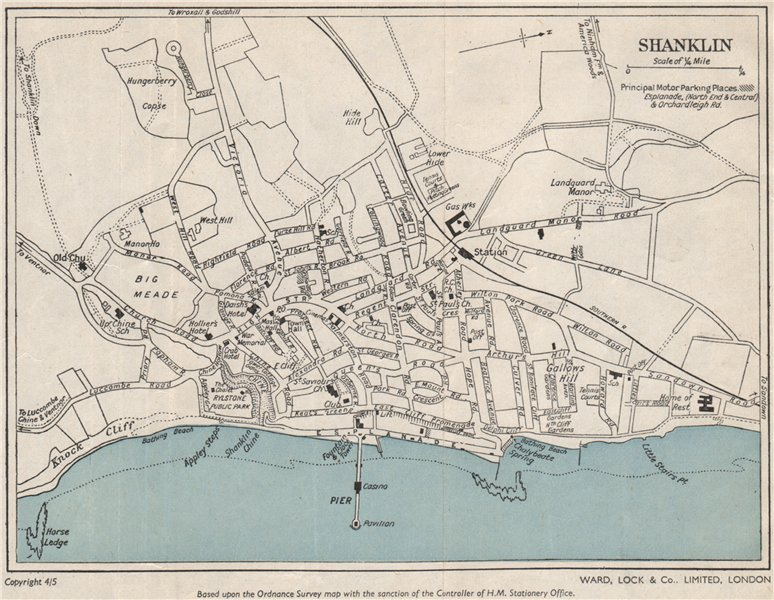 Associate Product SHANKLIN vintage town/city plan. Isle of Wight. WARD LOCK 1950 old vintage map
