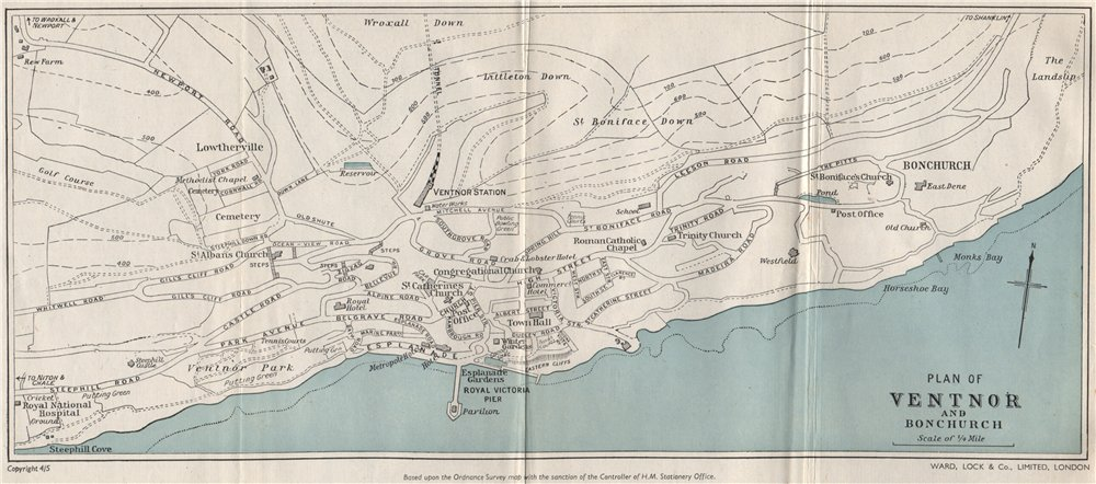 Associate Product VENTNOR AND BONCHURCH vintage town/city plan. Isle of Wight. WARD LOCK 1950 map